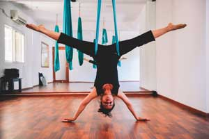 Aerial Yoga Classes in Bangalore Indiranagar in the Yoga Studio at FLUX