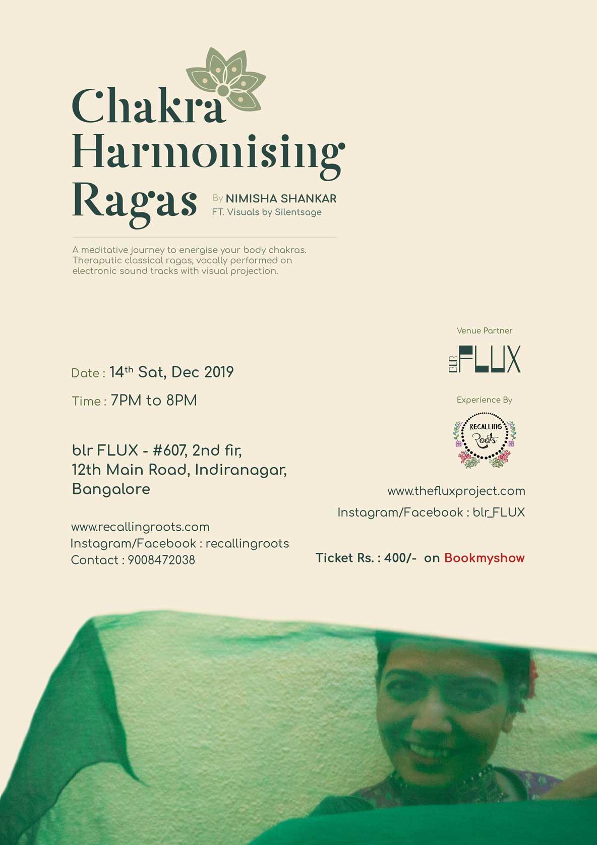 Events in Bangalore at FLUX: Music Performance by Nimisha Shankar - Chakra Harmonizing Ragas