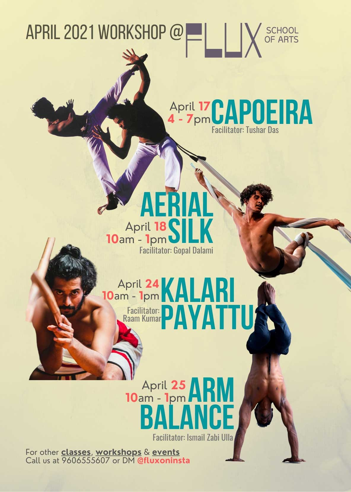Body Movement Workshops in Bangalore Indira-at-FLUX: Capoeira, Aerial Silks, Kalaripayattu & Arm Balance